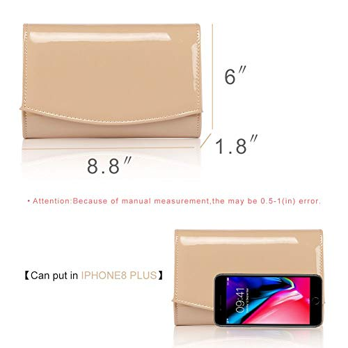 Women Patent Leather Wallets Fashion Clutch Purses,WALLYN'S Evening Bag Handbag Solid Color (New lightbrown) by WALLYN'S (Image #5)