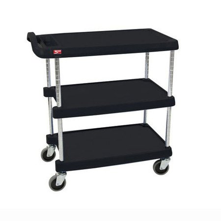InterMetro Industries MY1627-34BL Mycart Series Black Polymer Utility Cart, 3 Shelf, 35.38 X 31.44 X 18.31-Inch