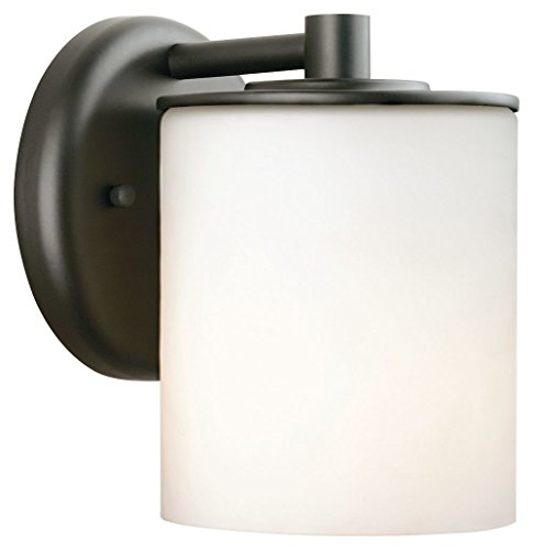 Forecast Lighting F8499-19 Midnight One-Light Exterior Wall Light with Etched White Opal Glass, Black -
