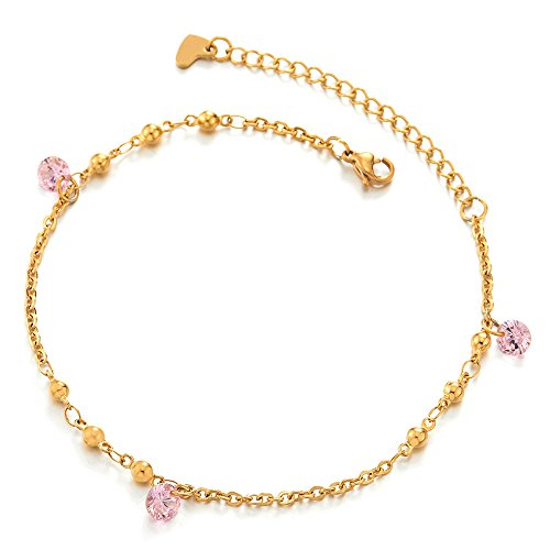 COOLSTEELANDBEYOND Stainless Steel Gold Color Anklet Bracelet with Ball Charms and Dangling Pink Cubic Zirconia by COOLSTEELANDBEYOND