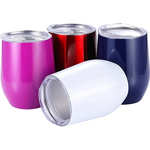 Skylety 4 Pack 12 Oz Unbreakable Triple-Insulated Stemless Wine Tumbler, Stainless Steel Wine Glass Cup with Lids, Drink-Ware Glasses for Wine, Coffee, Champagne, Cocktails and Beer (Multi-Color B) (Up Furniture Touching Scratches)