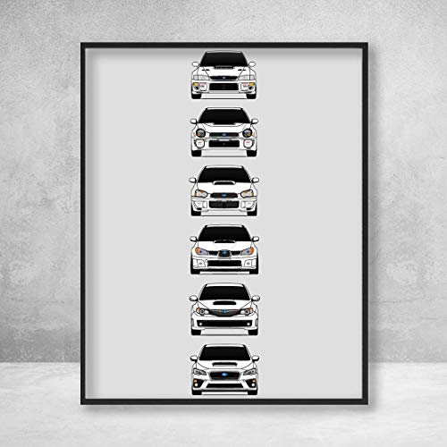 (Subaru WRX STI Poster Print Wall Art of the History and Evolution of the Subie STI Generations (White Cars))