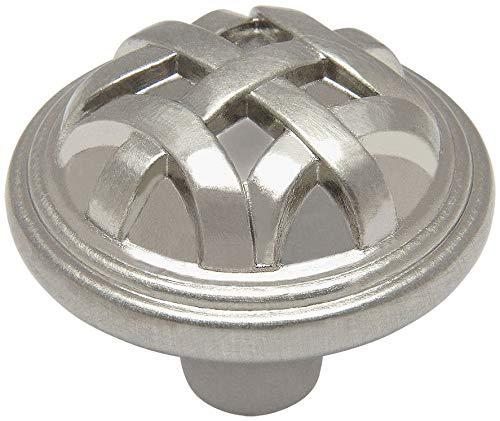 (10 Pack - Cosmas 7064SN Satin Nickel Braided Cabinet Hardware Round Knob - 1-1/4