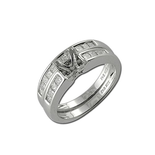 trijewels Diamond Bridal Set Semi Mount Ring & Wedding Band 0.55 ct tw in 14K White Gold.Size 6.5