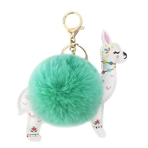 REAL SIC Alpaca/Llama Pom Pom Keychain - Faux Fur Fluffy Fuzzy Charm For Women & Girls. Fake Rabbit Key Ring for Backpacks, Purses, Bags or Gifts - Puff Ring Heart
