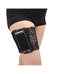 TAROMAING Womens Lace Non-Slip Thigh Garter Purse Phone Security Pockets