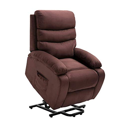 Homegear Microfiber Power Lift Electric Recliner Chair with Massage, Heat and Vibration with Remote Brown (Best Lift Chairs For Elderly)