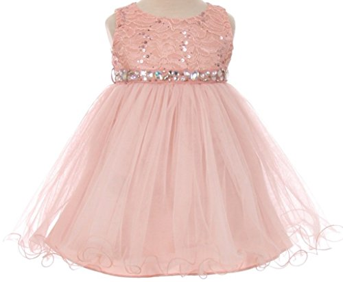 Baby Billy Jeans (Baby Flower Girl Dress Lace Bodice Crystal Tulle Bottom Blush L MBK 340B)