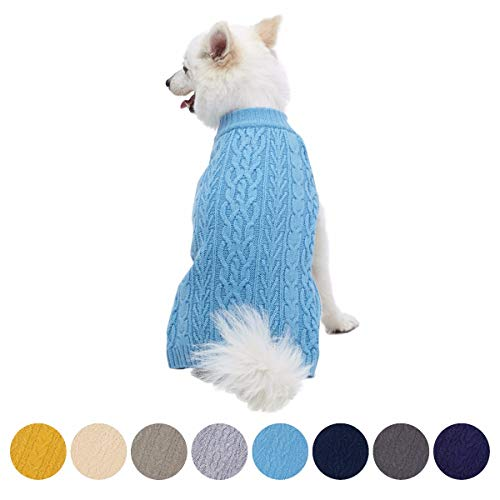 Blueberry Pet Classic Wool Blend Cable Knit Pullover Dog Sweater in Alaskan Blue, Back Length 14, Pack of 1 Clothes for Dogs