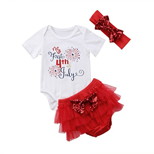Infant Baby Girl My First 4th of July Print Romper Jumpsuit+Tutu Shorts+Headband (0-3 Months, White) ()