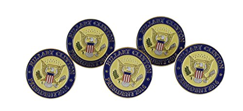 - Hillary Clinton President 2016 Seal Lapel Pin/Hat Tac (Value Pack) (5 pack)