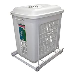 "Knape & Vogt PSH15-1-60-W 19"" Roll Out Plastic Hamper, White"