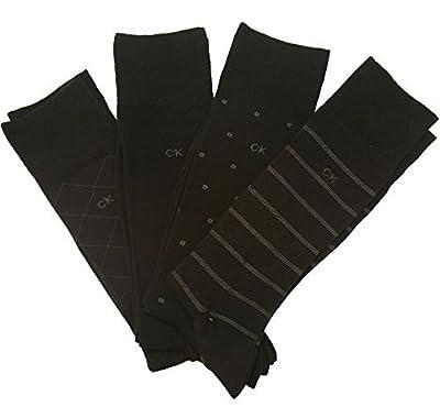 Calvin Klein Men's Bonus 4 Pack Dress Socks 4 Balck