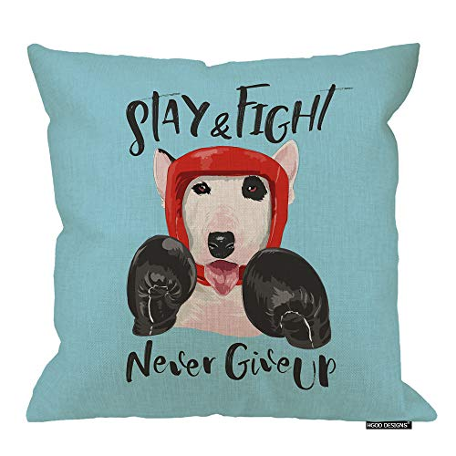 - HGOD DESIGNS Dog Pillow Cover,Funny Cartoon Dog Boxer Athlete Bull Terrier Design Cotton Linen Cushion Covers Home Decorative Throw Pillowcases 18x18inch