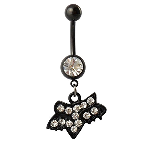 Design Belly Button - Drill Fox Design Belly Button Ring Fashion Body Piercing Jewelry (White)