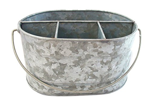 Well Pack Box Large Galvanized Bucket Steel Decor Drink Tub Caddy Serveware Utensil Organizer Utensil Picnic Napkin Metal Farmhouse Rustic Holder Great for Parties, Picnics, Kitchens, and Showers
