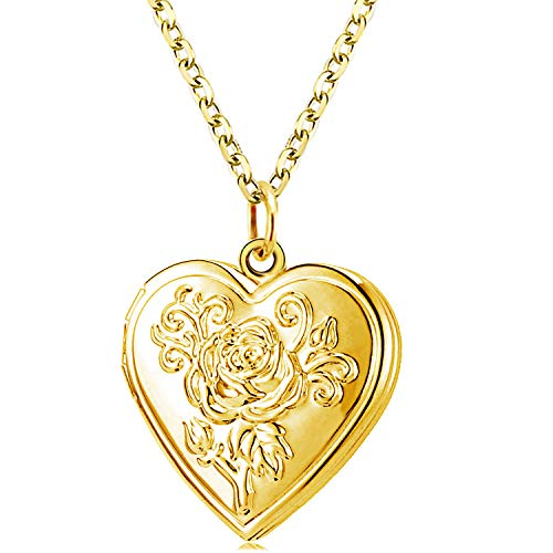 (YOUFENG Love Heart Locket Necklace Pendant Flower Memories Photo Locket Charms Living Memory Locket Gold Plated (Gold Flower Locker))