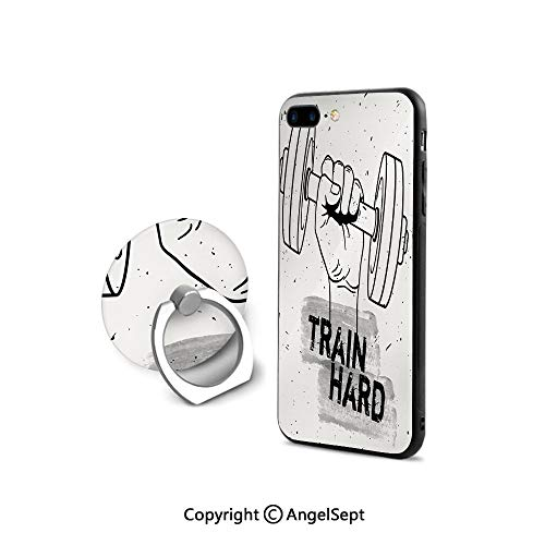 (Protective Case for iPhone 8/iPhone 7 with Ring Holder Kickstand,Hand Holding a Dumbbell Grunge Sketch Get Strong Train Hard Illustration Decorative,Shock-Absorption Bumper,Black Silver White)