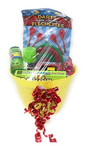 Happy Easter Birthday Darts Basket ~ Great for Boys ~ Candy Treats and Toys (May Vary) ~ Basket & Colors May -