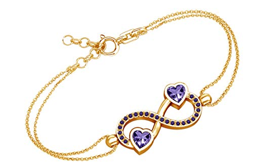 AFFY Heart & Round Shape Simulated Amethyst Infinity Heart Chain Bracelets in 14k Yellow Gold Over Sterling Silver -7.5