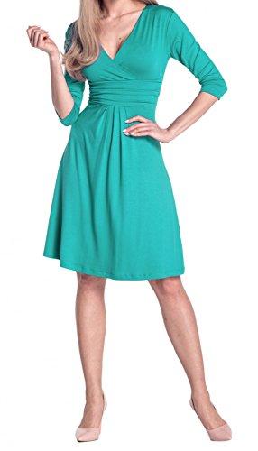Glamour Empire Para Mujer Vestido Skater Fruncido Delantera Cruzada. 282 Verde Azulado