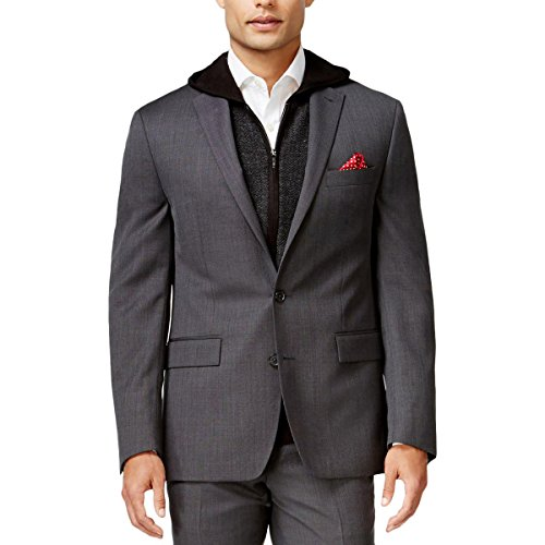 Ryan Seacrest Mens Wool Slim Fit Two-Button Suit Jacket Gray 38R