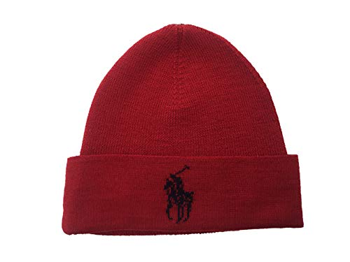 Polo Ralph Lauren Men`s Lightning Bolt Wool Hat (Red(PP0015-621)/Navy, One Size)