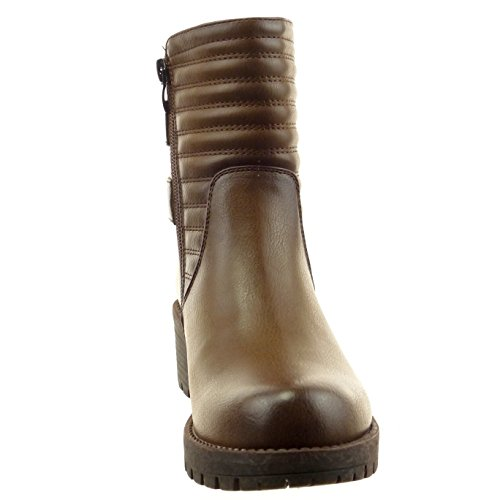 Sopily - damen Mode Schuhe Stiefeletten Chelsea Boots Biker Fertig Steppnähte Schleife Linien - Braun