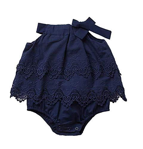 Dress Lace Flounce (Newborn Baby Girl Infant Romper Jumpsuit Bodysuit Tutu Lace Dress Clothes Outfit (12-18 Months, Blue))