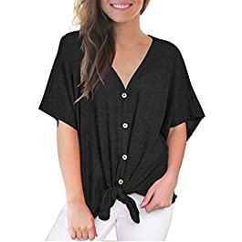 Women's Loose Blouse Short Sleeve V Neck Button Down T Shirts  Casual Tops
