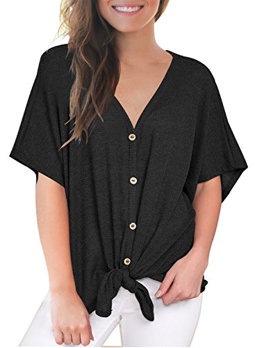 MIHOLL Womens Loose Blouse Short Sleeve V Neck Button Down T Shirts Tie Front Knot Casual Tops (Small, Black)