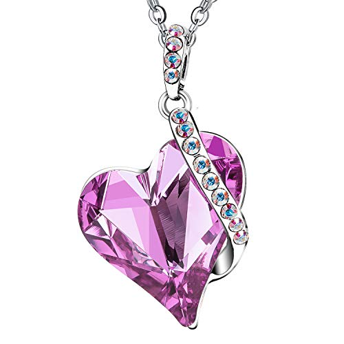 Menton Ezil Love Heart Fashion Pendant Necklace Made with White Gold Plated & Swarovski Crystal Great to Wear with an Easter Dress (Pink Love Necklace)