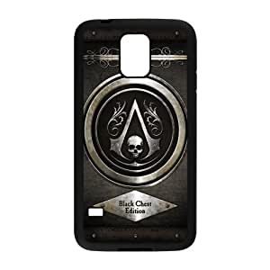 LeonardCustom- Assassin's Creed Black Flag Protective Hard Rubber Coated Cover Case for Samsung Galaxy S5 [Black / White] -LCS5U402