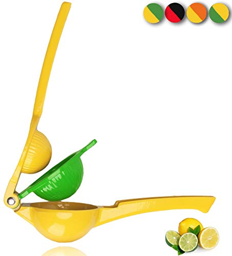 Yimobra Original Lemon Lime Squeezer, Heavy Duty Metal Manual Hand Juicer Press for Lemons, Limes Citrus Fruit, No Pulp or Seeds, Dishwasher Safe, Premium Quality Juicing Kitchen Tool, Yellow
