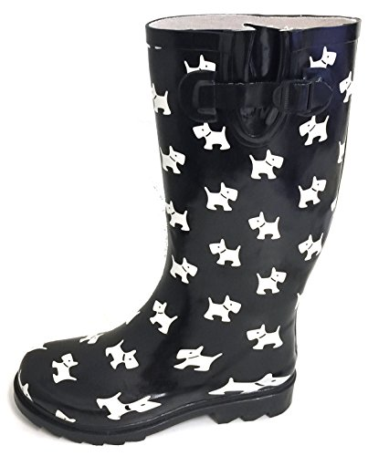G4U Womens Rain Boots Multiple Styles Color Mid Calf Wellies Buckle Fashion Rubber Knee High Snow Shoes Black/White Puppies 3wRone0jk