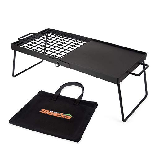 "Heavy Duty Large 24"" Folding Campfire Grill. Camping Grill with"