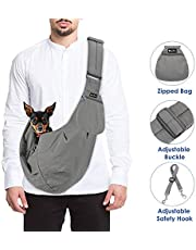 SlowTon Pet Carrier, Doggie Cat Hand Free Sling Carry Dog Papoose Carrie Adjustable Padded Shoulder Strap Tote Bag with Front Pocket Safety Belt Outdoor Travel Puppy Carrying for Walking Subway (Grey)