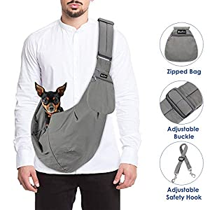SlowTon Pet Carrier, Doggie Cat Hand Free Sling Carry Dog Papoose Carrie Adjustable Padded Shoulder Strap Tote Bag with… Click on image for further info.