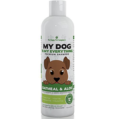 Oatmeal and Aloe Vera Moisturizing Dog Shampoo For Dry, Itchy Sensitive Skin With Advanced 3-in-1 PH-Balanced Coat Protection To Soothe, Hydrate, and Deodorize Veterinarian Recommended Shampoo 16 oz