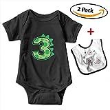 POOPEDD Dinosaur Birthday Boy Unisex Baby Short Sleeve Onesies Infant Bodysuits Infant Bibs