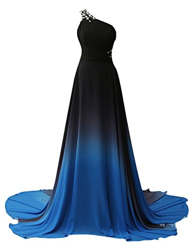 JAEDEN Gradient Prom Dress Formal Evening Gowns Chiffon Long Prom Party Dresses Blue Four US14