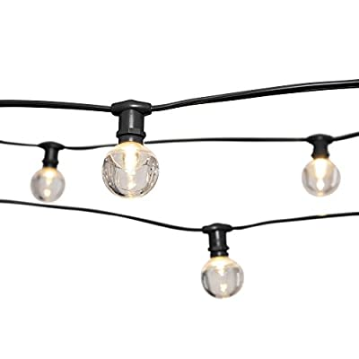Commercial Globe Lights, 50 foot E12 Black Wire, Acrylic LED 1.5 Inch G40 Bulbs, String Lights, Wedding, Patio, Restaurant, Cafe, Bistro, Backyard, Tent, Marquee (Warm White), (Black Wire)