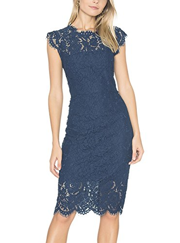 TECREW Women's Lace Floral Bodycon Dresses Sleeveless Crew Neck For Cocktail Party - Lace Overlay Dress