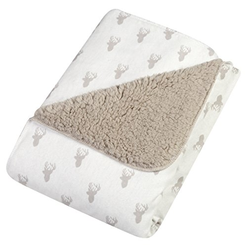 Trend Lab Gray Stag Head Faux Shearling Blanket