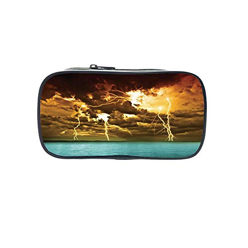 Personal Tailor Pen Bag,Nature,Flash Storm Over The Lake with Large Rain Clouds Miracle Solar Illumination Photo,Blue Yellow,for Students,Comfortable Design by iPrint