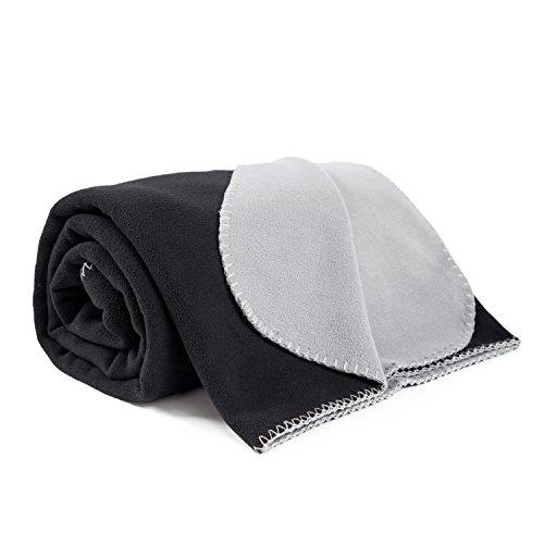 Polar Fleece Blanket Twin size 60x80 Soft Warm Black/Grey Ou