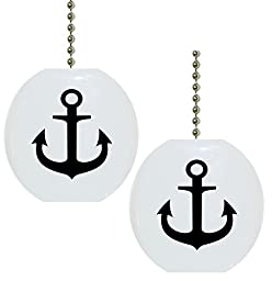 Set of 2 Black Anchor Nautical Solid Ceramic Fan Pulls