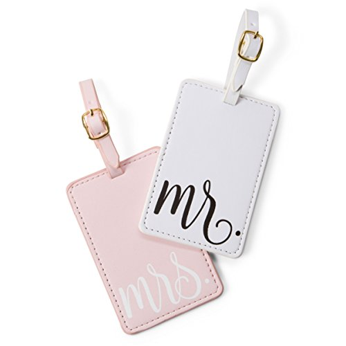 Travel Mr and Mrs Luggage Tags: Cute, Unique Pink and White, Flexible and Sturdy Leather Suitcase Bag Identifiers for Men and Women - Baggage Tag Identification Set of 2 for Cruise or Airplane Travel by Tri-coastal Design