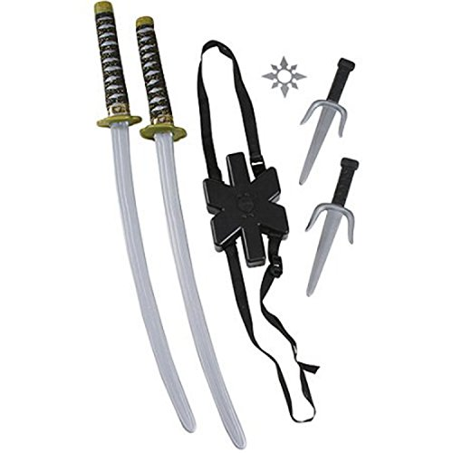 Halloween Costumes For Groups Of 6 (6 Piece Ninja Double Sword Set Cool Halloween Decor Party Costume Accessory)