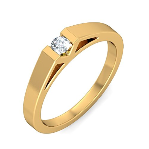 14K Yellow Gold (HallMarked), 0.11 cttw White Diamond (IJ | SI ) Diamond Engagement Wedding Ring Size - 10.5 by PEACOCK JEWELS